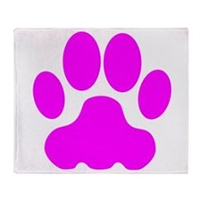 Pink Big Cat Paw Print Throw Blanket