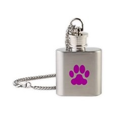 Pink Big Cat Paw Print Flask Necklace