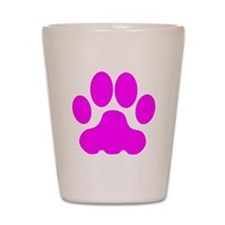 Pink Big Cat Paw Print Shot Glass