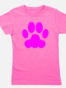 Pink Big Cat Paw Print Girl's Tee