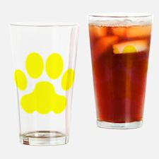 Yellow Big Cat Paw Print Drinking Glass