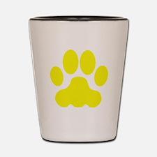 Yellow Big Cat Paw Print Shot Glass