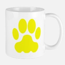 Yellow Big Cat Paw Print Small Mug