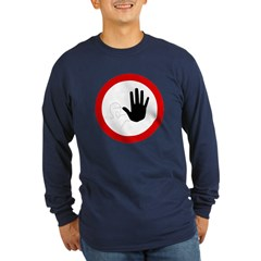 Restricted Access Sign Long Sleeve Blue T-Shirt