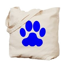 Blue Big Cat Paw Print Tote Bag