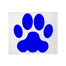 Blue Big Cat Paw Print Throw Blanket