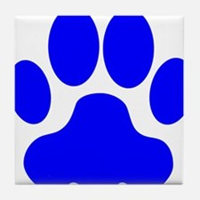 Blue Big Cat Paw Print Tile Coaster