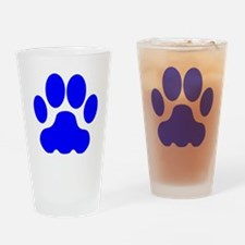 Blue Big Cat Paw Print Drinking Glass