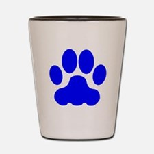 Blue Big Cat Paw Print Shot Glass