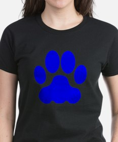 Blue Big Cat Paw Print T-Shirt