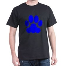 Blue Big Cat Paw Print T-Shirt