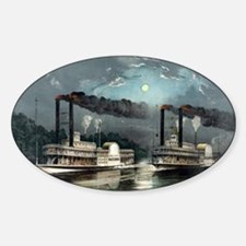 A midnight race on the Mississippi - 1890 Decal
