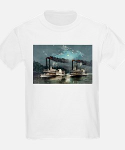 A midnight race on the Mississippi - 1890 T-Shirt