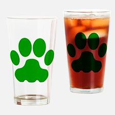Green Big Cat Paw Print Drinking Glass