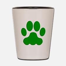 Green Big Cat Paw Print Shot Glass