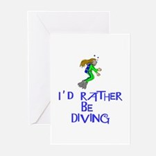 I'd rather be diving! Greeting Cards (Pk of 10