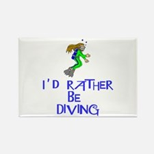 I'd rather be diving! Rectangle Magnet