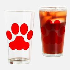 Red Big Cat Paw Print Drinking Glass