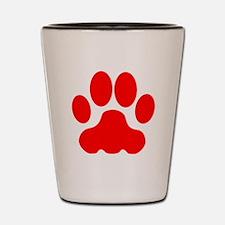 Red Big Cat Paw Print Shot Glass