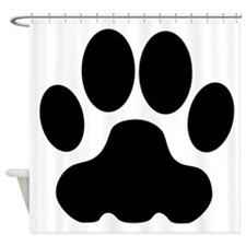 Black Big Cat Paw Print Shower Curtain
