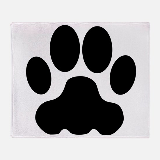 Black Big Cat Paw Print Throw Blanket
