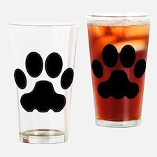 Black Big Cat Paw Print Drinking Glass