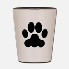 Black Big Cat Paw Print Shot Glass