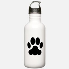 Black Big Cat Paw Print Sports Water Bottle