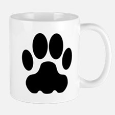 Black Big Cat Paw Print Small Mug