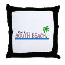 Visit Scenic South Beach, Flo Throw Pillow