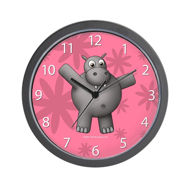New Pink Hippo Clock By Ths Store
