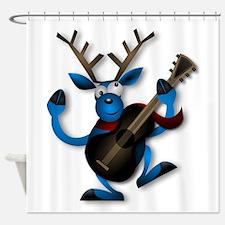Blue Reindeer Playing Guitar Shower Curtain