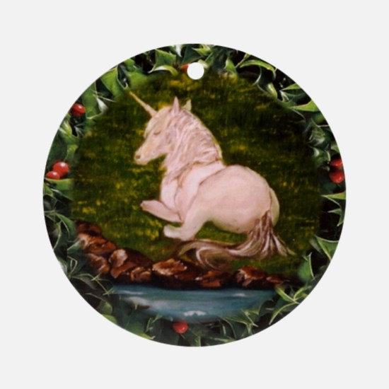 Unicorn in Holly Ornament (Round)