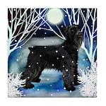 SCHNAUZER DOG WINTER Tile Coaster