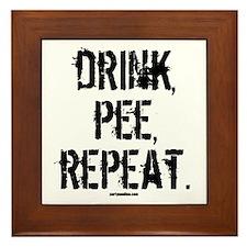 Drink, Pee, Repeat Framed Tile