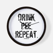 Drink, Pee, Repeat Wall Clock