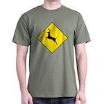 Deer Crossing Sign Green T-Shirt