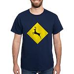 Deer Crossing Sign Blue T-Shirt