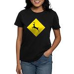 Deer Crossing Sign Women's Black T-Shirt