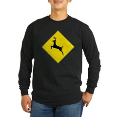 Deer Crossing Sign Long Sleeve Black T-Shirt