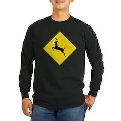Deer Crossing Sign Long Sleeve Black T-Shirt