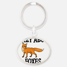 FOXES77129 Oval Keychain