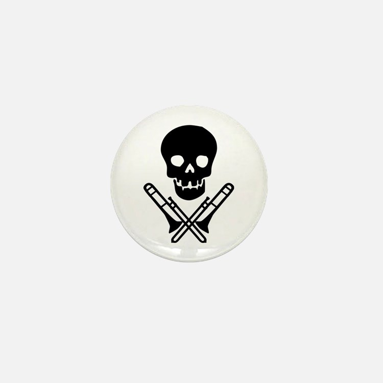 skull & trombones mini button