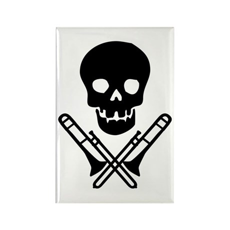 skull & trombones rectangle magnet (10 pack)