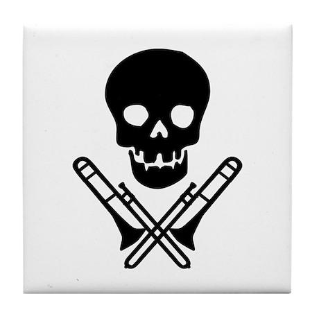 skull & trombones tile coaster