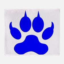 Blue Wolf Paw Print Throw Blanket