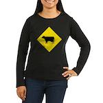 Cattle Crossing Sign Womens Long Slv Black T-Shirt