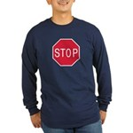 Stop Sign Long Sleeve Black or Blue T-Shirt