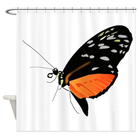 Black And Orange Butterfly Shower Curtain By AnimalsandWildlifeGifts