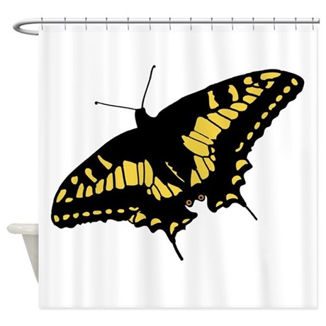 black and yellow butterfly shower curtain by animalsandwildlifegifts. Black Bedroom Furniture Sets. Home Design Ideas